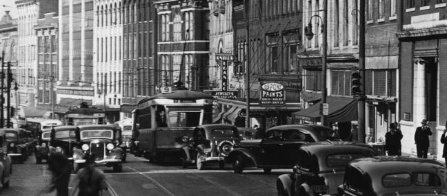 Looking north toward the 200 and 100 blocks of Gay Street in the 1930s (cropped detail; courtesy of Calvin M. McClung Historical Collection, Thompson Photograph Collection)