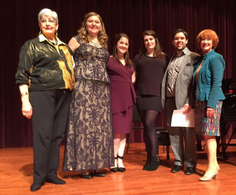 2016 Met Audition Winners with district co-chairs (L to R) Phyllis Driver (co-chair), Jessica Faselt, Evan Kardon, Lauren McQuistin, Todd Barnhill, Jocelynne McCall (co-chair)