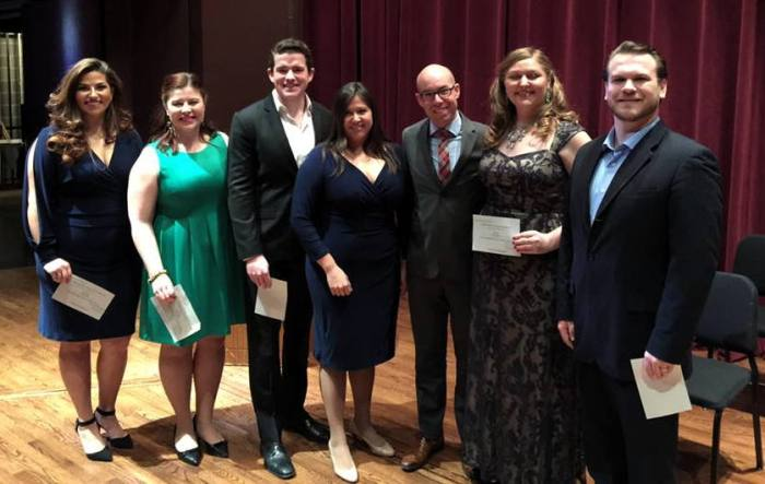 (L to R) Nicolette Book, Jacqueline Piccolino, Emmett O'Hanlon, judges Melissa Wegner and Brian Speck, 2nd place - Jessica Faselt, 1st place - Hunter Enoch (Photo courtesy of Metropolitan Opera National Council - Mid-South Region)