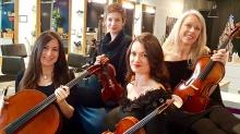 Inner Voices String Quartet (L to R) Janine Wilkinson, cello; Rachel Loseke, violin; Ruth Bacon Edewards, violin; Christina Graffeo, viola